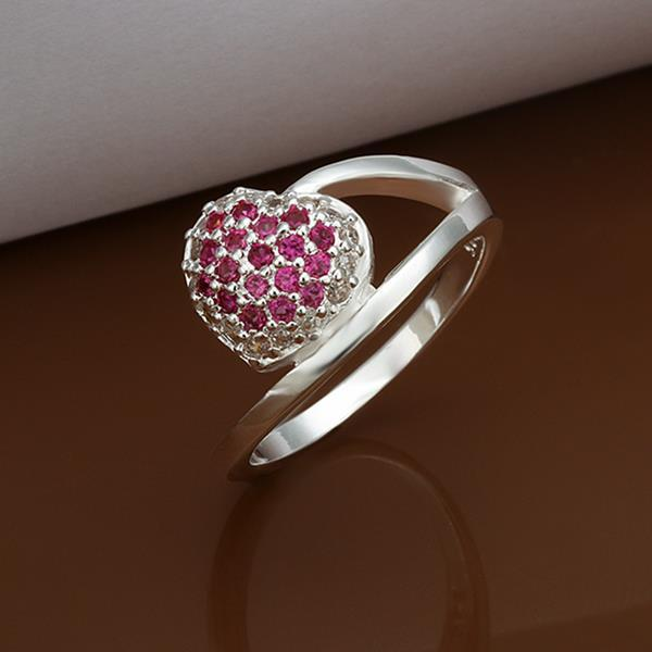 Vienna Jewelry Sterling Silver Ruby Red Pav'e Swirl Ring Size: 8