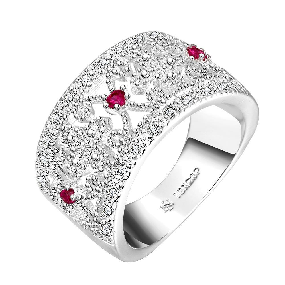 Vienna Jewelry Sterling Silver Petite Ruby Gem Jewels Covering Ring Size: 8
