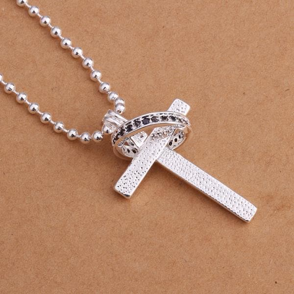Vienna Jewelry Sterling Silver Cross & Charm Drop Necklace