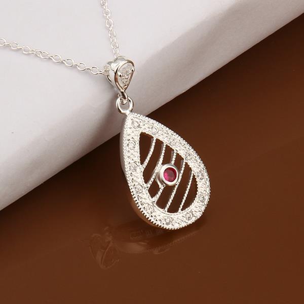 Vienna Jewelry Sterling Silver Laser Cut Petite Ruby Gem Emblem Necklace