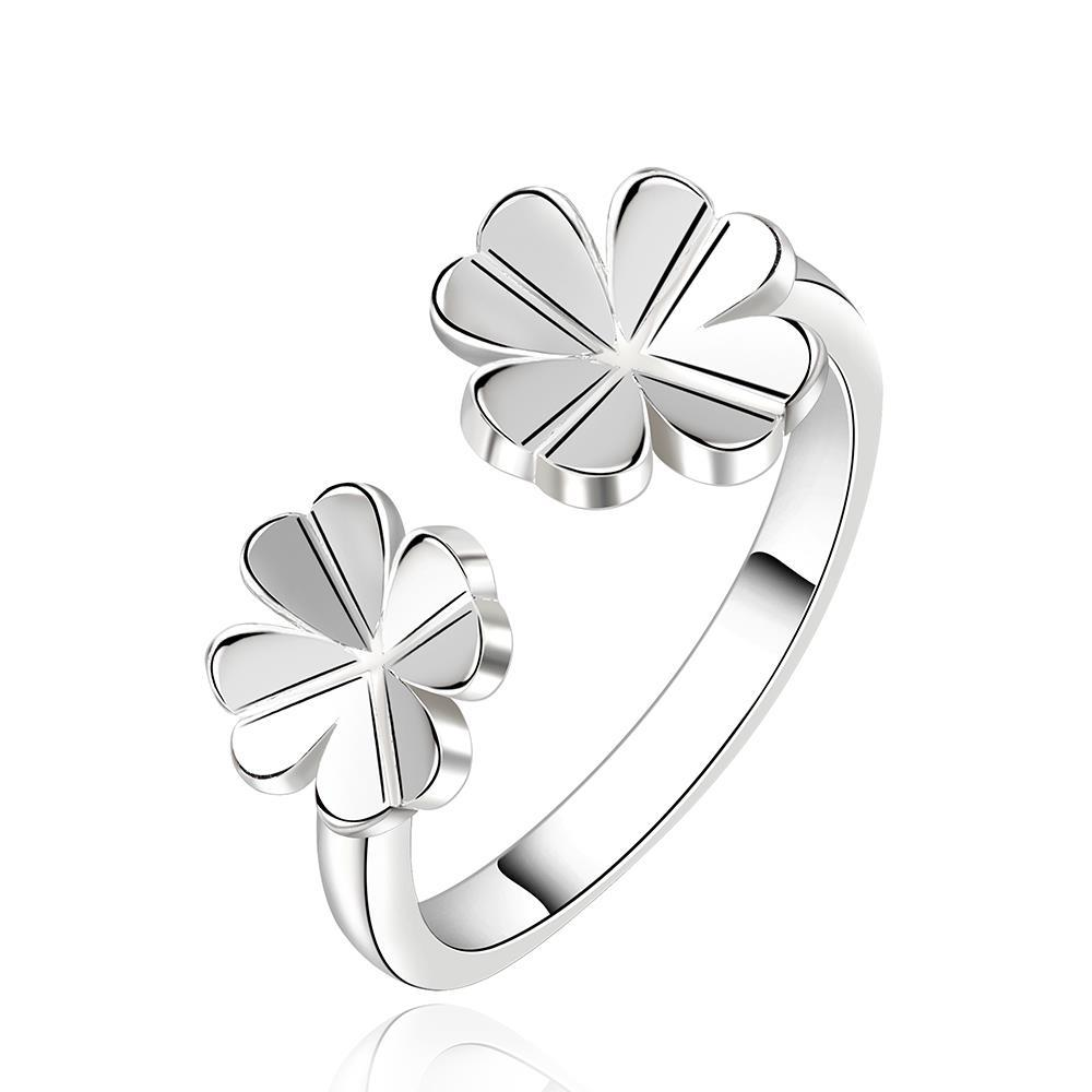 Vienna Jewelry Sterling Silver Petite Duo-Clover Stud Ring Size: 8