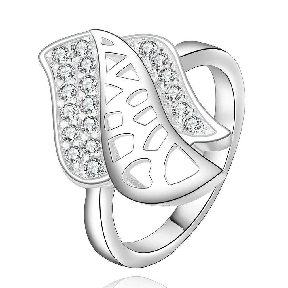 Vienna Jewelry Sterling Silver Laser Cut Floral Petal Ring Size: 8