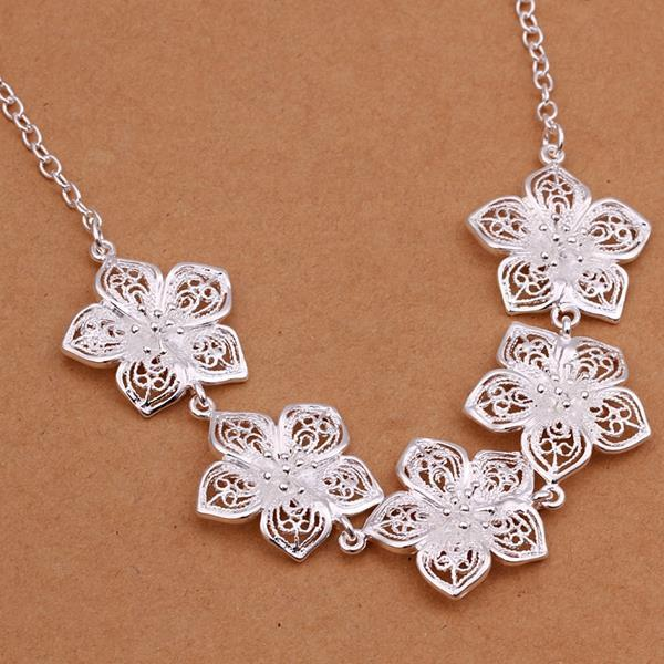 Vienna Jewelry Sterling Silver Multi Floral Petal Dangling Necklace
