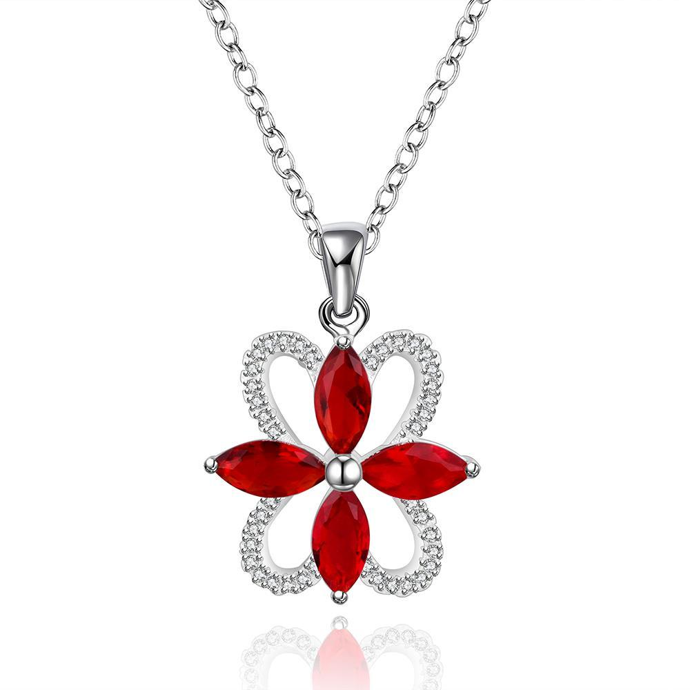 Vienna Jewelry Sterling Silver Quad Ruby Emblem Drop Necklace