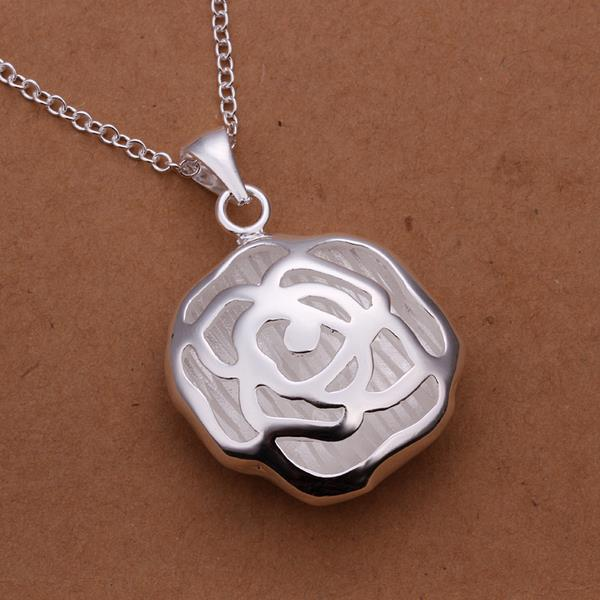 Vienna Jewelry Sterling Silver Laser Cut Blossoming Floral Necklace
