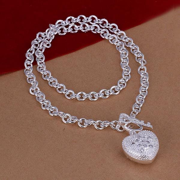Vienna Jewelry Sterling Silver Heart Pocket Emblem Necklace
