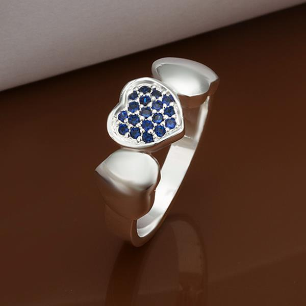 Vienna Jewelry Sterling Silver Petie Mock Sapphire Heart Shaped Ring Size: 8