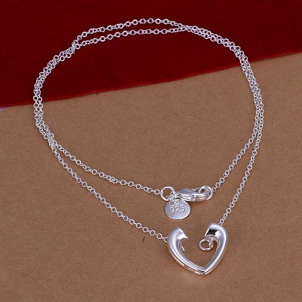 Vienna Jewelry Sterling Silver Open Curved Heart Emblem Necklace