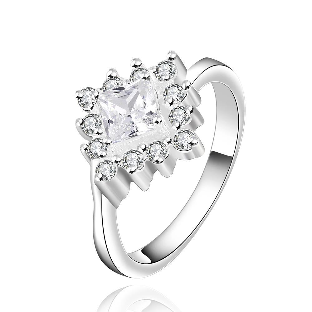 Vienna Jewelry Silve Tone Studed Clover Crystal Petite Ring Size: 7