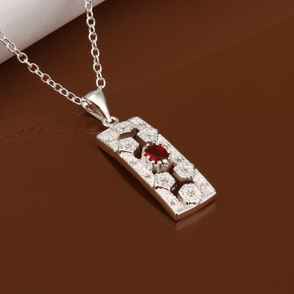 Vienna Jewelry Sterling Silver Ruby Gem Vertical Rectangle Drop Necklace