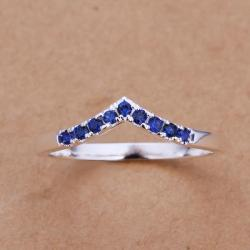Vienna Jewelry Sterling Silver Sapphire Ingrain Petite Ring Size: 8 - Thumbnail 0