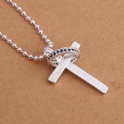 Vienna Jewelry Sterling Silver Cross & Charm Drop Necklace - Thumbnail 0