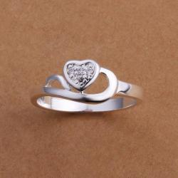 Vienna Jewelry Sterling Silver Curved Heart Shaped Petite Ring Size: 8 - Thumbnail 0