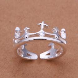 Vienna Jewelry Sterling Silver King's Crown Petite Ring Size: 8 - Thumbnail 0