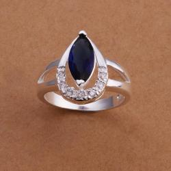 Vienna Jewelry Sterling Silver Curved Mock Sapphire Crystal Lining Ring Size: 8 - Thumbnail 0