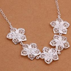 Vienna Jewelry Sterling Silver Multi Floral Petal Dangling Necklace - Thumbnail 0