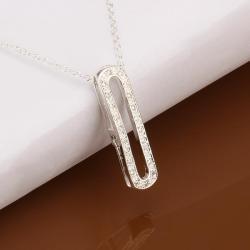 Vienna Jewelry Sterling Silver Hollow Petite Drop Vertical Emblem Drop Necklace - Thumbnail 0
