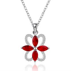 Vienna Jewelry Sterling Silver Quad Ruby Emblem Drop Necklace - Thumbnail 0
