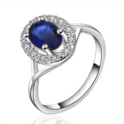 Vienna Jewelry Sterling Silver Sapphire Jewels Coverd Modern Twist Ring Size: 8 - Thumbnail 0