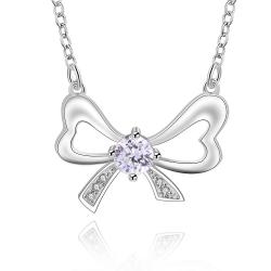Vienna Jewelry Sterling Silver Crystal Knot Pendant Necklace - Thumbnail 0