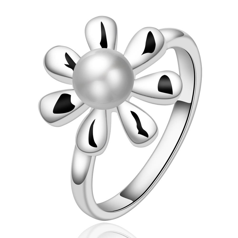 Vienna Jewelry Sterling Silver Pearl Blossoming Clover Shaped Ring Size: 7