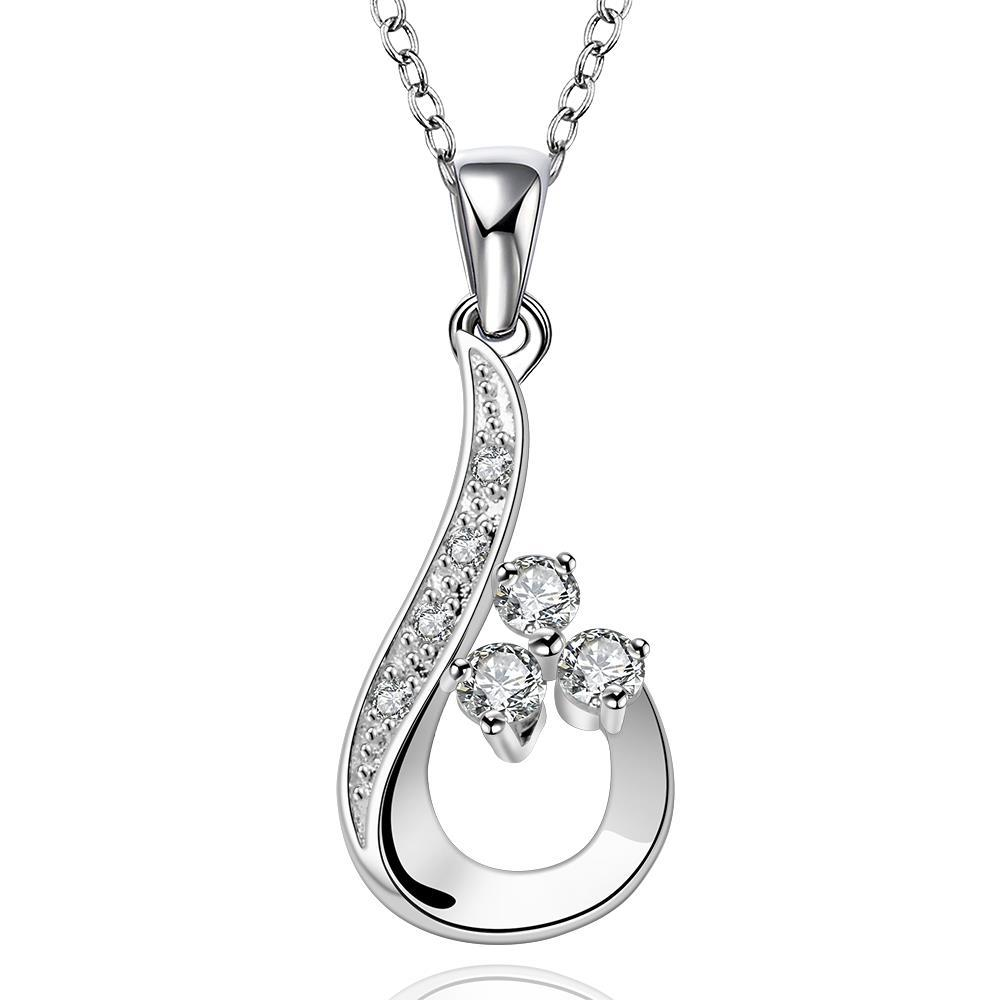 Vienna Jewelry Sterling Silver Curved Droping Emblem Necklace