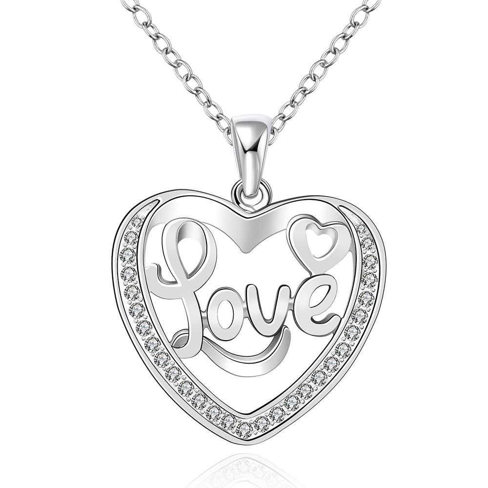 Vienna Jewelry Sterling Silver Love Ingrain Heart Shaped Necklace