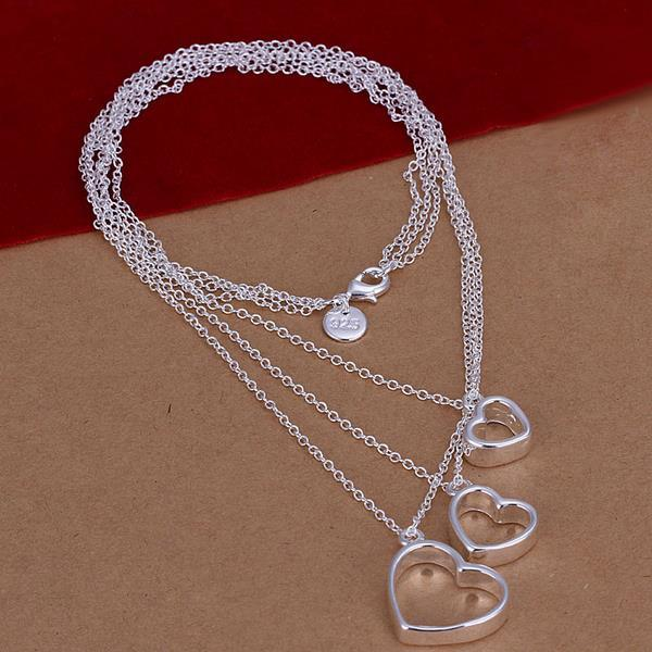 Vienna Jewelry Sterling Silver Trio-Hollow Hearts Dangling Necklace