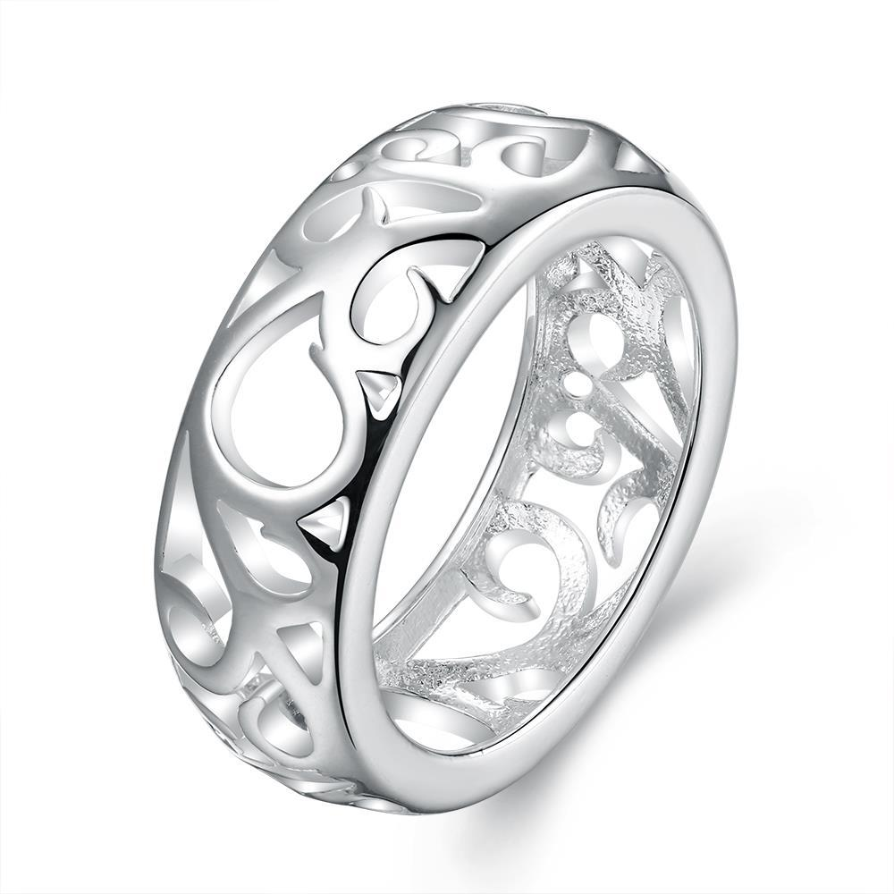 Vienna Jewelry Sterling Silver Laser Cut Hollow Design Band Size: 8