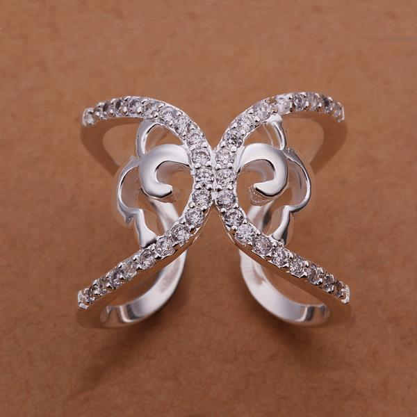 Vienna Jewelry Sterling Silver Crystal Inlay Butterfly Design Ring Size: 8