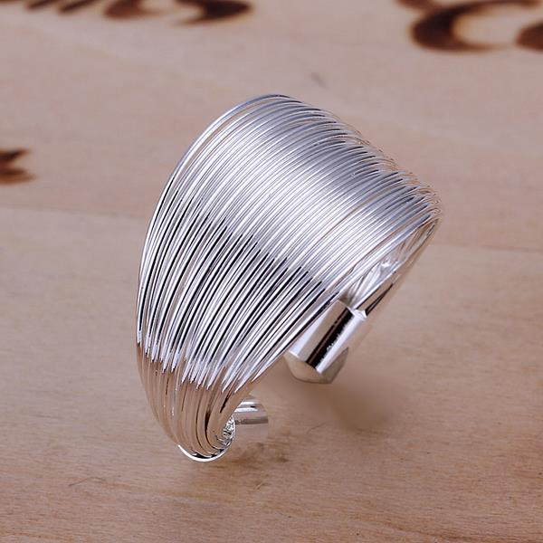 Vienna Jewelry Sterling Silver One Size Multi Layer Resizable Ring