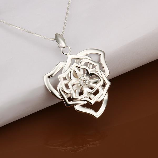 Vienna Jewelry Sterling Silver Blossoming Floral Drop Necklace