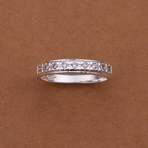 Vienna Jewelry Sterling Silver Jewels Insert Band Size: 8