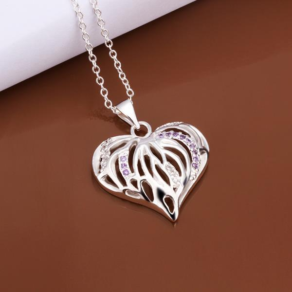 Vienna Jewelry Sterling Silver Laser Cut Heart Pendant Necklace