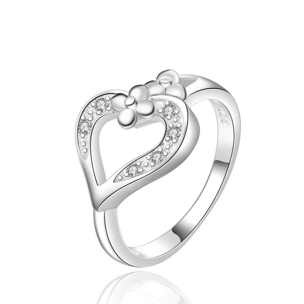 Vienna Jewelry Sterling Silver Hollow Heart Classic Ring Size: 8