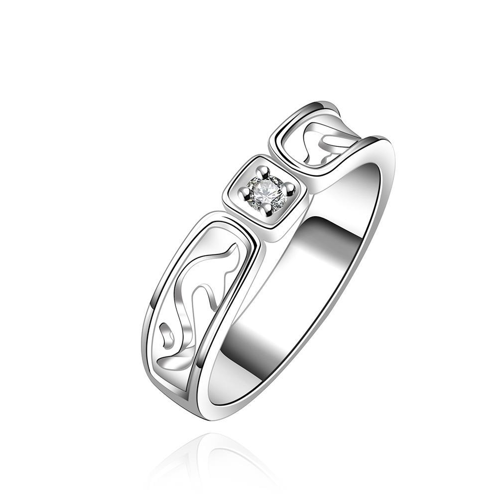 Vienna Jewelry Sterling Silver Square Crystal Classic Ring Size: 7