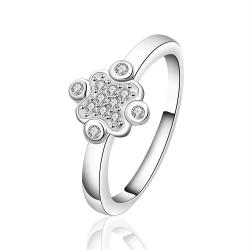 Vienna Jewelry Sterling Silver Crystal Clover Petite Ring Size: 7 - Thumbnail 0