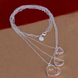 Vienna Jewelry Sterling Silver Trio-Hollow Hearts Dangling Necklace - Thumbnail 0