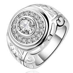 Vienna Jewelry Sterling Silver Circular Crystal Jewels Modern Ring Size: 8 - Thumbnail 0