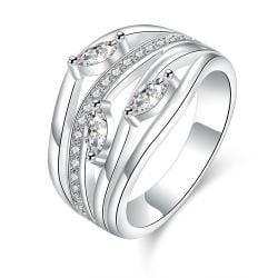 Vienna Jewelry Sterling Silver Multi Jewels Insert Classical Ring Size: 7 - Thumbnail 0