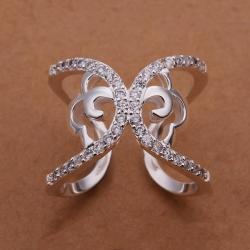 Vienna Jewelry Sterling Silver Crystal Inlay Butterfly Design Ring Size: 8 - Thumbnail 0