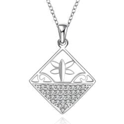 Vienna Jewelry Sterling Silver Diamond Shaped Design Inprint Necklace - Thumbnail 0