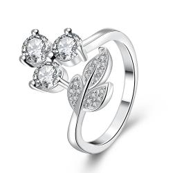 Vienna Jewelry Sterling Silver Trio-Jewels & Leaf Petite Ring Size: 7 - Thumbnail 0