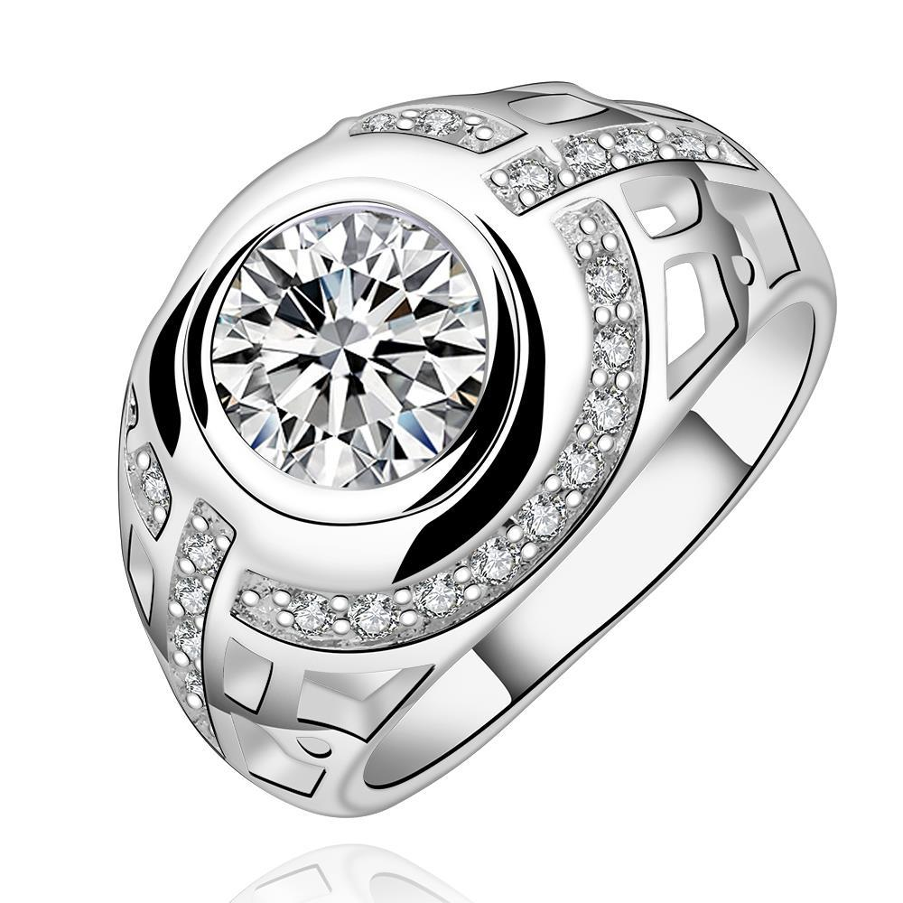 Vienna Jewelry Sterling Silver Center Crystal Twisted Modern Ring Size: 7