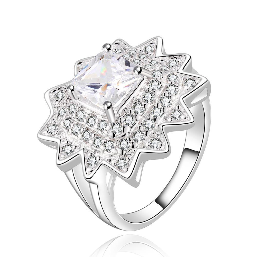 Vienna Jewelry Sterling Silver Crystal Blossoming Floral Ring Size: 7