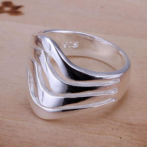 Vienna Jewelry Sterling Silver Multi Layered Curved Lining Ring Size: 8