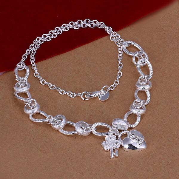 Vienna Jewelry Sterling Silver Heart & Charm Emblem Drop Necklace