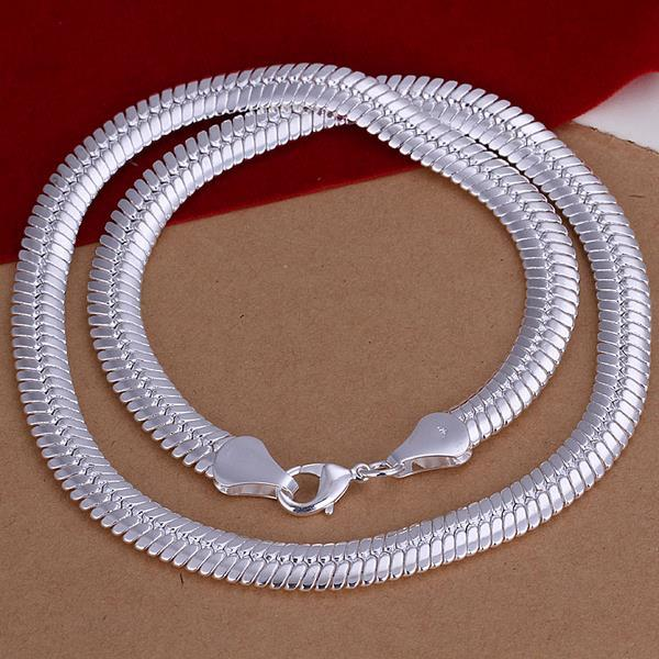 Vienna Jewelry Sterling Silver Multi Modern Sleek Chain Necklace