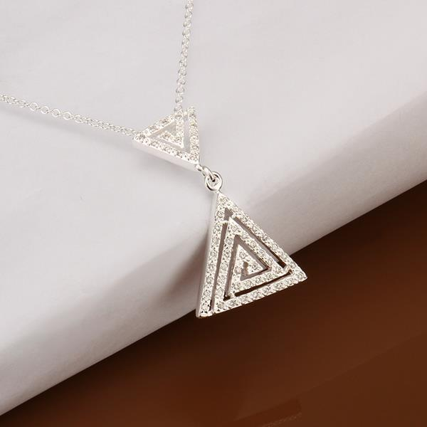 Vienna Jewelry Sterling Silver Duo-Pyramid Drop Necklace