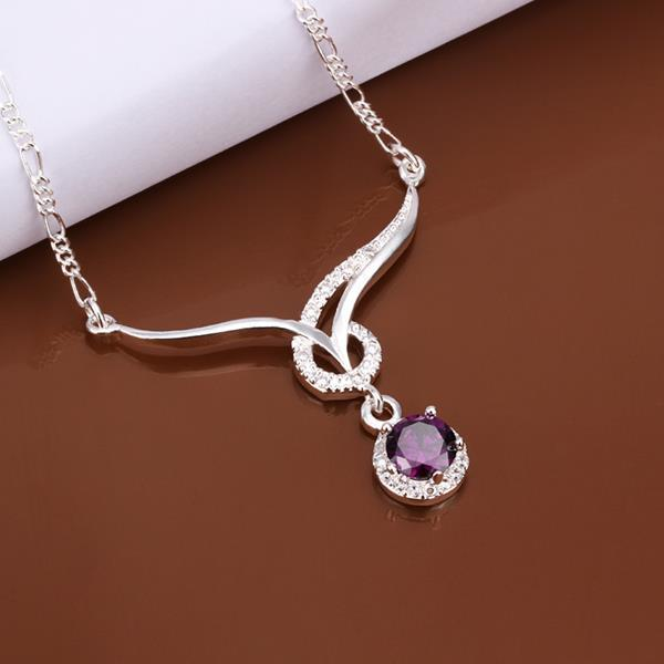 Vienna Jewelry Sterling Silver Curved Lining Purple Citrine Necklace